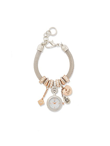 Two-Tone Charm Bracelet Watch - New York & Company