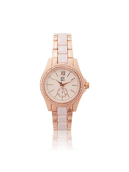 Two-Tone Enamel Link Watch  - New York & Company