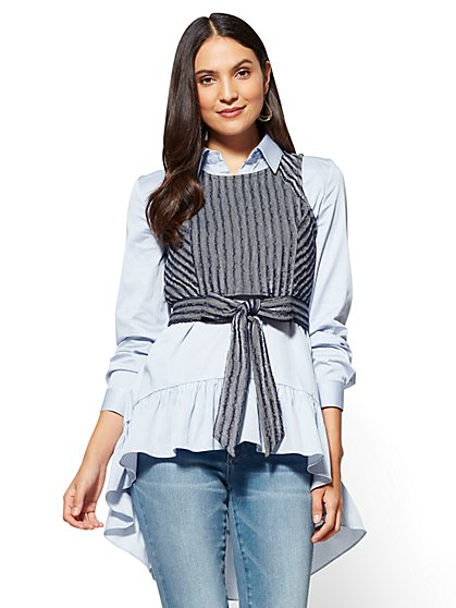 Twofer Poplin Tunic Shirt - New York & Company