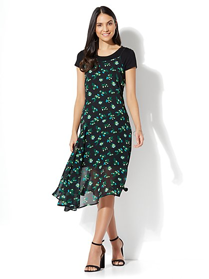 Twofer Slip Dress - Black Floral - New York & Company