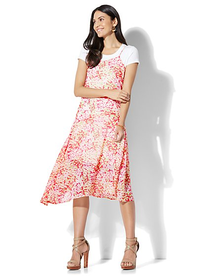 Twofer Slip Dress - Floral - New York & Company