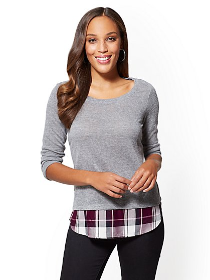 Twofer Sweater - Grey - Plaid - New York & Company