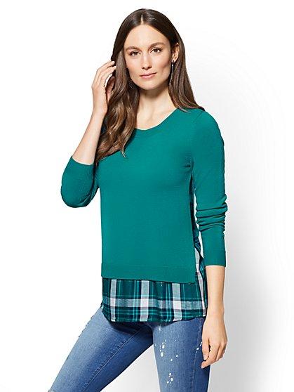 Twofer Sweater - Metallic Plaid - New York & Company