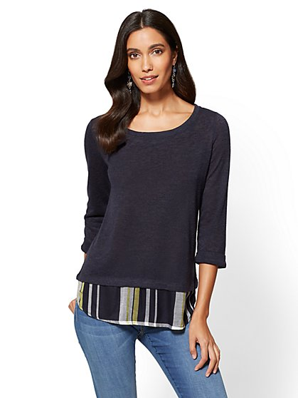 Twofer Sweater - Navy - Plaid - New York & Company