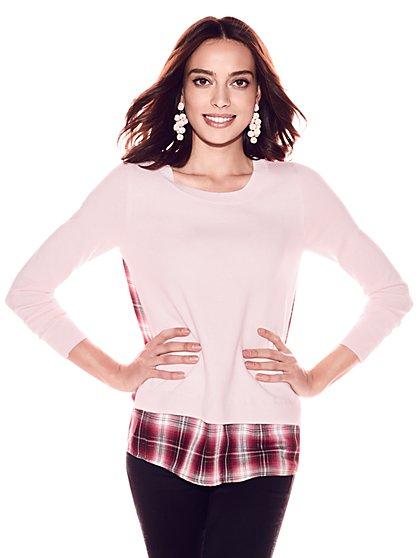 Twofer Sweater - Pink - Metallic Plaid - New York & Company