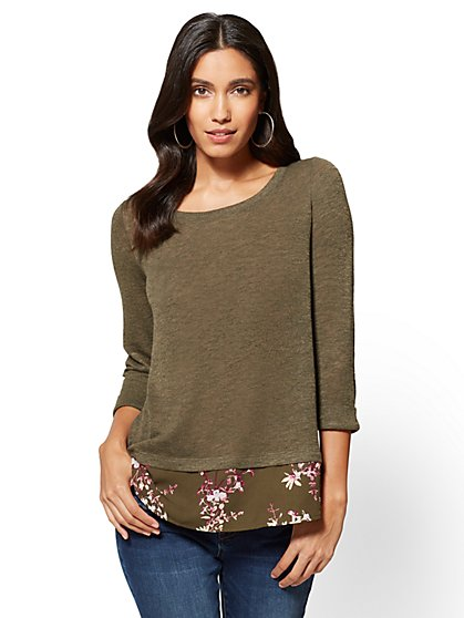 Twofer Sweater - Print - New York & Company