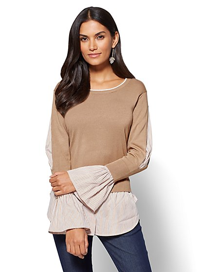 Twofer Sweater - Stripe  - New York & Company