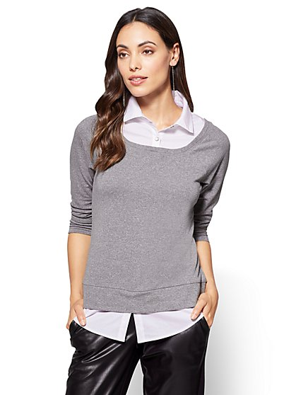 Twofer Sweatshirt Top  - New York & Company