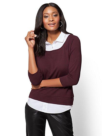 Twofer Sweatshirt Top  - New York & Company