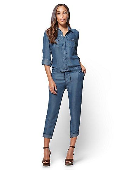 Ultra-Soft Chambray Jumpsuit - Indigo Blue Wash - New York & Company