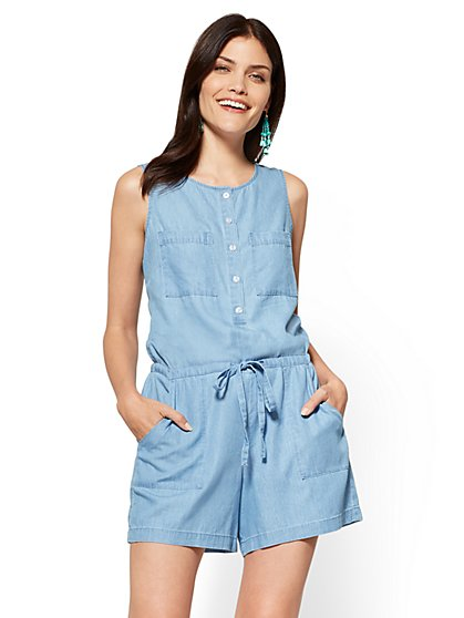 Ultra-Soft Chambray Romper - Indigo Blue Wash - New York & Company