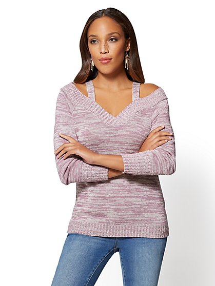 V-Neck Cold-Shoulder Sweater - New York & Company