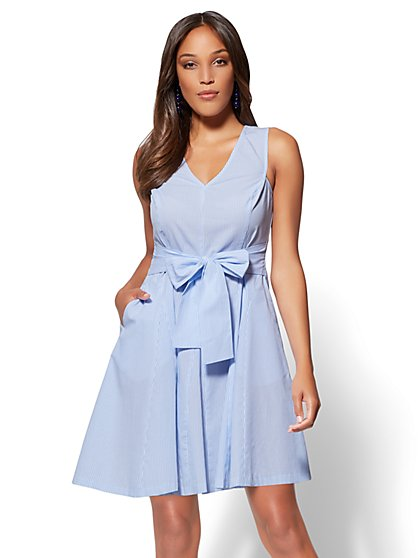 V-Neck Fit & Flare Cotton Dress - Blue - New York & Company