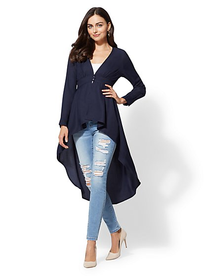 V-Neck Hi-Lo Blouse - New York & Company