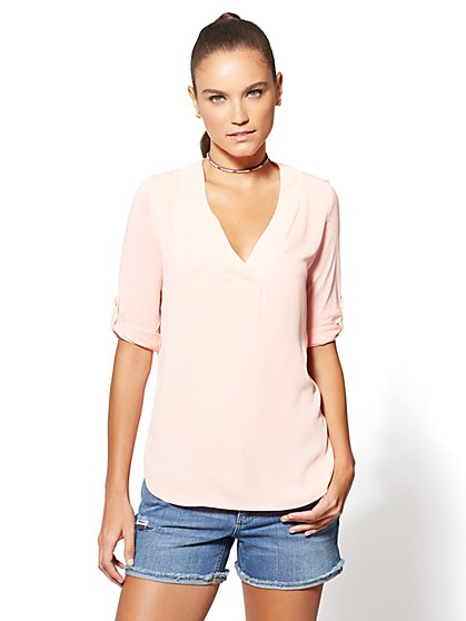 V-Neck Hi-Lo Top - New York & Company
