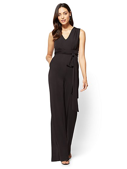 V-Neck Jumpsuit - Black  - New York & Company