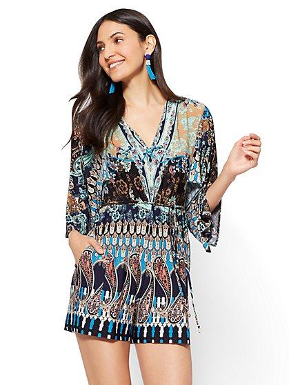 V-Neck Kimono Romper - Mixed Print - New York & Company