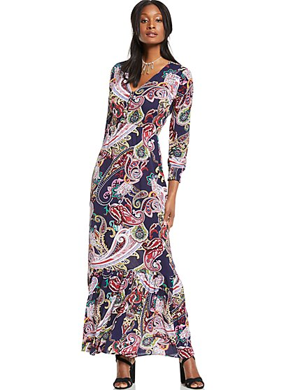V-Neck Maxi Dress - Paisley - New York & Company