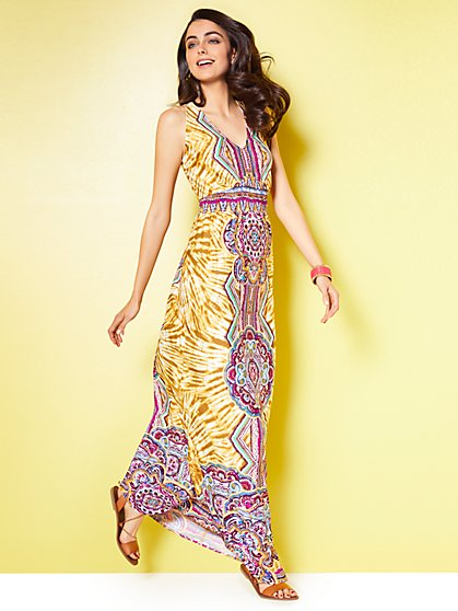 V-Neck Maxi Dress - Tie-Dye and Graphic Prints - New York & Company