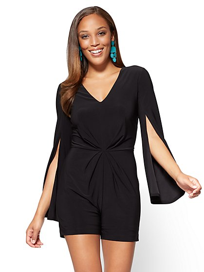 V-Neck Open-Sleeve Romper - Black - New York & Company
