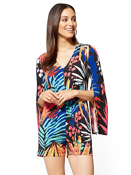 V-Neck Open-Sleeve Romper - Palm Print - New York & Company
