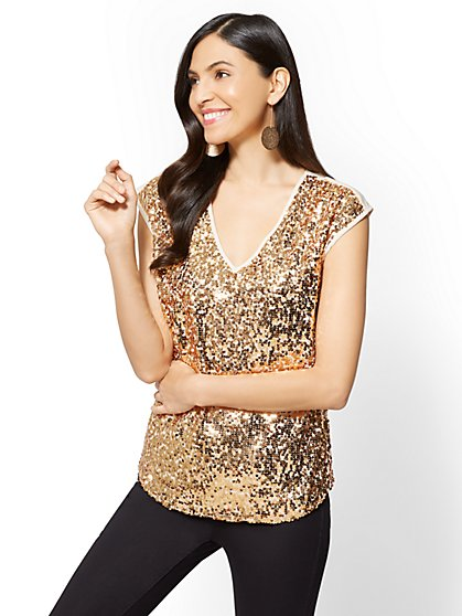 V-Neck Sequin Tee - New York & Company