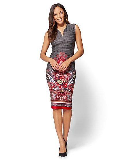 V-Neck Sheath Dress - Black - Mixed Print - New York & Company