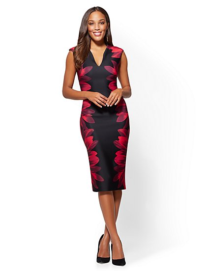 V-Neck Sheath Dress - Floral - Petite - New York & Company