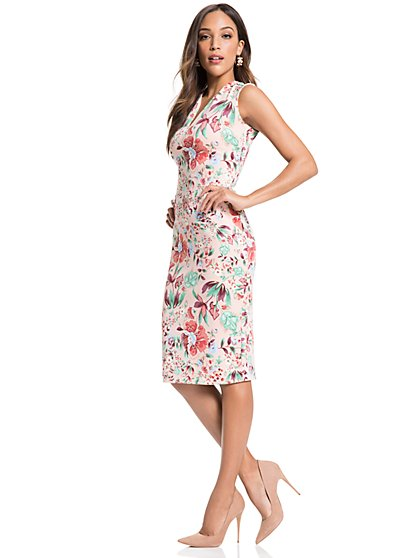 V-Neck Sheath Dress - Floral - New York & Company