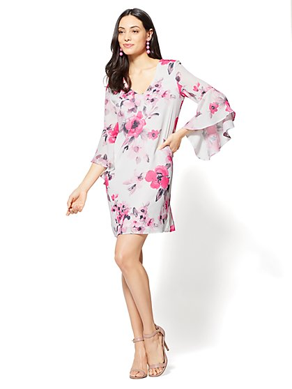 V-Neck Shift Dress - Floral - New York & Company