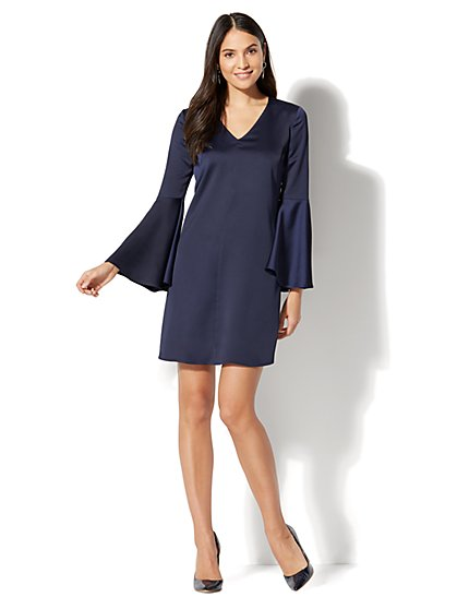 V-Neck Shift Dress - Navy - New York & Company