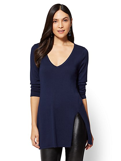 V-Neck Tunic Sweater - New York & Company