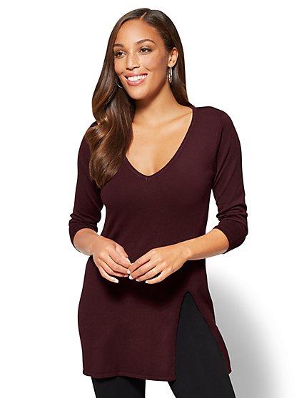 V-Neck Tunic Sweater - New York & Company
