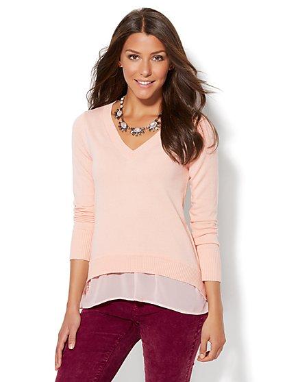 V-Neck Twofer Sweater  - New York & Company