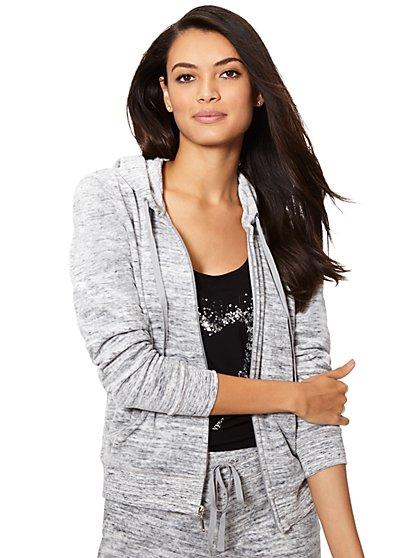 Velour Hoodie Jacket - Space Dye - New York & Company