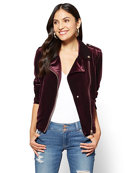Velvet Moto Jacket  - New York & Company