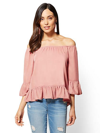 Velvet Off-The-Shoulder Top - New York & Company