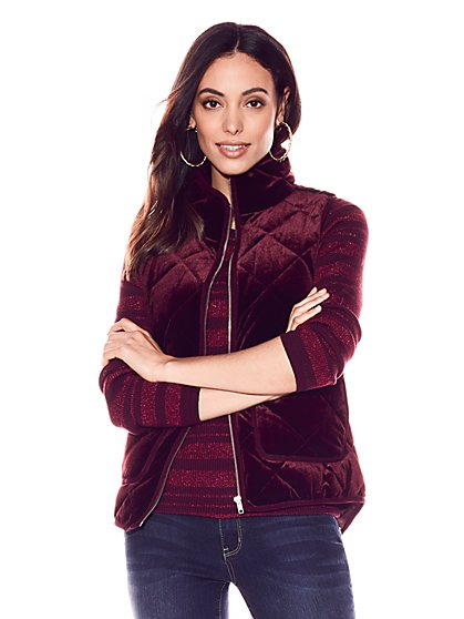 Velvet Quilted Vest - New York & Company