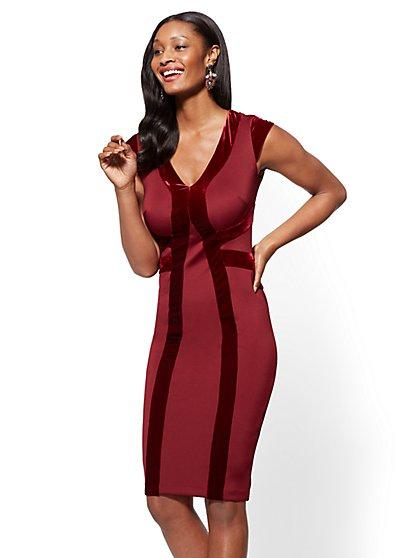 Velvet-Stripe Sheath Dress - New York & Company