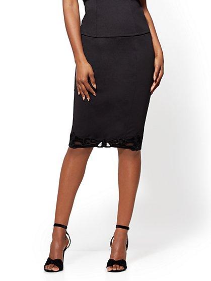 Velvet-Trim Pull-On Pencil Skirt - Black - New York & Company