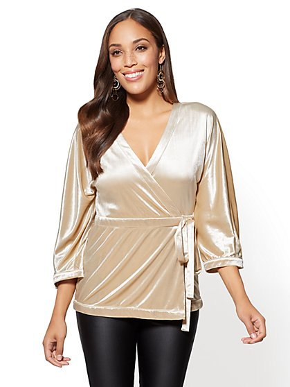 Velvet Wrap Top - New York & Company