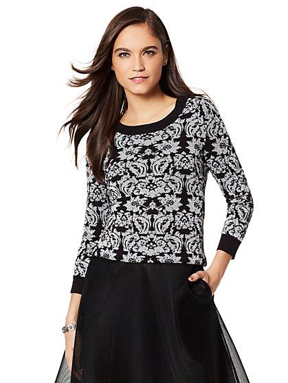 Waverly Crewneck Sweater - Lurex Jacquard - New York & Company