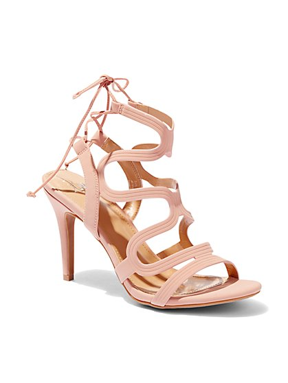 Wavy Strap Lace-Up Sandal  - New York & Company