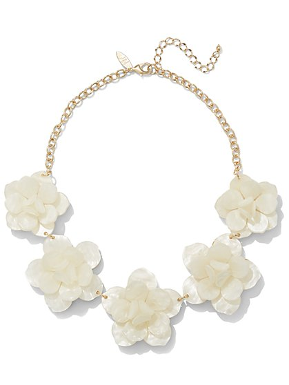 White Floral Bib Necklace  - New York & Company