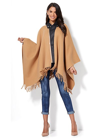Wool Blend Moto Poncho - New York & Company