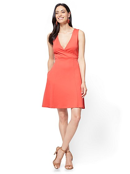 Wrap-Front Fit & Flare Dress - Petite - New York & Company
