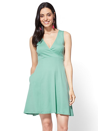 Wrap-Front Fit & Flare Dress - Tall - New York & Company