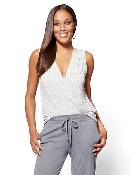 Wrap-Front Hooded Tee - New York & Company