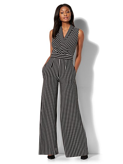 Wrap-Front Jumpsuit - Stripe - New York & Company