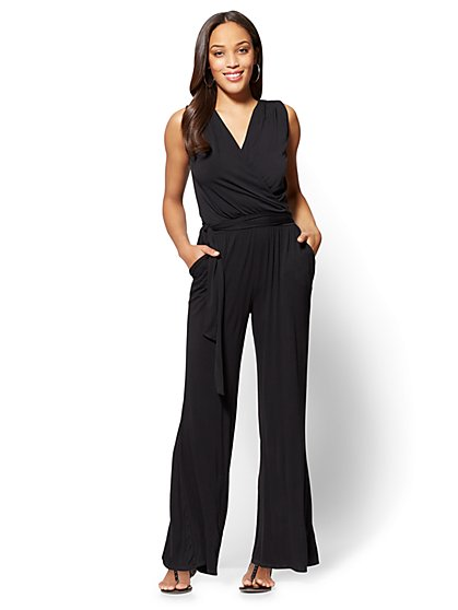 Wrap Jumpsuit - Black - New York & Company